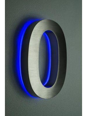 RVS 20cm BLAUW LED Huisnummer 0 inclusief 12 volt netvoeding adapter