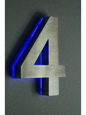 RVS 20cm BLAUW LED Huisnummer 4 inclusief 12 volt netvoeding adapter