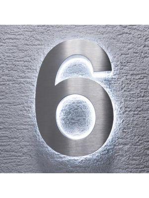 RVS 20cm WIT LED Huisnummer 6 inclusief 12 volt netvoeding adapter