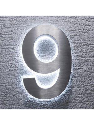 RVS 20cm WIT LED Huisnummer 9 inclusief 12 volt netvoeding adapter