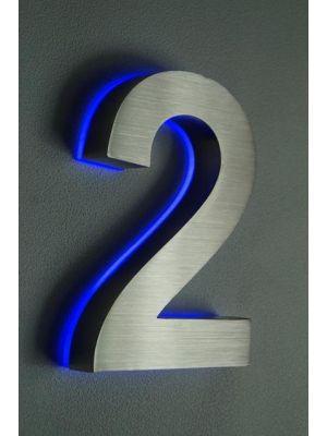 RVS 20cm BLAUW LED Huisnummer 2 inclusief 12 volt netvoeding adapter
