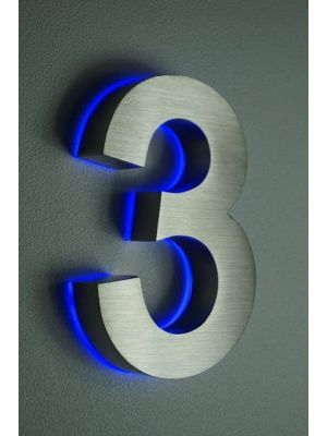 RVS 20cm BLAUW LED Huisnummer 3 inclusief 12 volt netvoeding adapter
