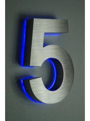 RVS 20cm BLAUW LED Huisnummer 5 inclusief 12 volt netvoeding adapter
