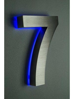 RVS 20cm BLAUW LED Huisnummer 7 inclusief 12 volt netvoeding adapter
