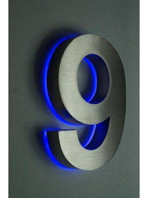 RVS 20cm BLAUW LED Huisnummer 9 inclusief 12 volt netvoeding adapter thumbnail