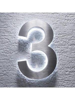 RVS 20cm WIT LED Huisnummer 3 inclusief 12 volt netvoeding adapter