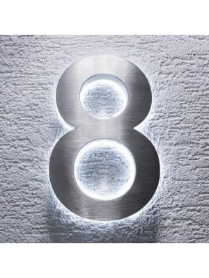 RVS 20cm WIT LED Huisnummer inclusief 12 volt netvoeding adapter