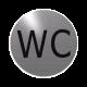 rvs deurbordje tekst: WC  ROND 82mm  Zelfklevend