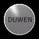 rvs deurbordje tekst: duwen| ROND 82mm| Zelfklevend