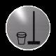 rvs deurbordje pictogram: bezemkast| ROND 82mm| Zelfklevend