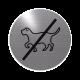 rvs deurbordje pictogram: verboden voor honden| ROND 82mm| Zelfklevend