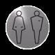 rvs deurbordje pictogram: man vrouw WC heren en dames toilet| ROND 82mm| Zelfklevend