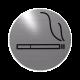 rvs deurbordje pictogram: rookruimte| ROND 82mm| Zelfklevend