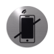 rvs deurbordje pictogram: verboden te bellen| ROND 82mm| Zelfklevend
