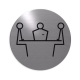 rvs deurbordje pictogram: vergaderruimte| ROND | Zelfklevend