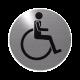 rvs deurbordje pictogram: invaliden Toilet| ROND | Zelfklevend