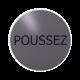 rvs deurbordje Franse tekst duwen: Poussez| ROND | Zelfklevend