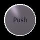 rvs deurbordje Engelse tekst duwen: Push| ROND 82mm| Zelfklevend