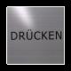 rvs deurbordje tekst: Drucken | rvs | vierkant deurbordje met tekst| vierkant 125X125MM | Zelfklevend