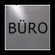 rvs deurbordje tekst: Buro| vierkant 125X125MM | Zelfklevend