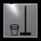 rvs deurbordje pictogram: Bezemkast emmer en bezem| vierkant 125X125MM | Zelfklevend
