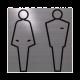rvs deurbordje pictogram: Man Vrouw Toilet Dames en Heren WC| vierkant 125X125MM | Zelfklevend