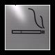 rvs deurbordje pictogram: rookruimte| vierkant 125X125MM | Zelfklevend