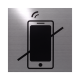 rvs deurbordje pictogram: verboden voor telefoons| vierkant 125X125MM | Zelfklevend