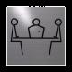 rvs deurbordje pictogram: vergaderruimte| vierkant 125X125MM | Zelfklevend