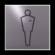 rvs deurbordje pictogram: Heren toilet modern| vierkant 125X125MM | Zelfklevend