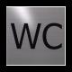 rvs deurbordje tekst: WC| vierkant 125X125MM | Zelfklevend
