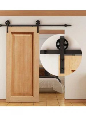 Schuifdeurbeslag - Mat zwart poedercoat met Grote hangrollen - 2 meter Schuifdeur Systeem