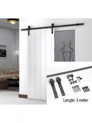 Schuifdeursysteem Mat zwart Smeedijzereffect met hangrollen - 300 cm schuifdeur systeem XXL