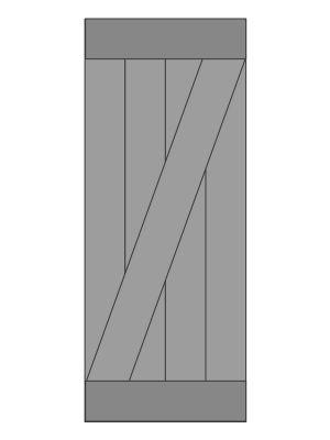 Vuren Schuifdeur op Maat voor U gemaakt-Boven en onder met diagonaal