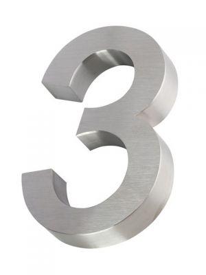 RVS 3D huisnummer 20cm Nummer 3