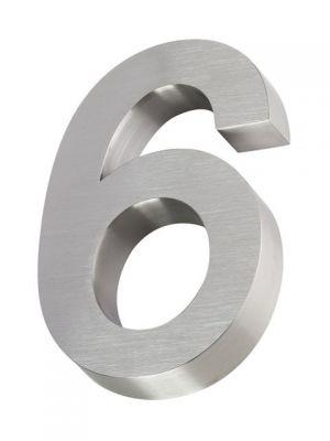RVS 3D huisnummer 20cm Nummer 6