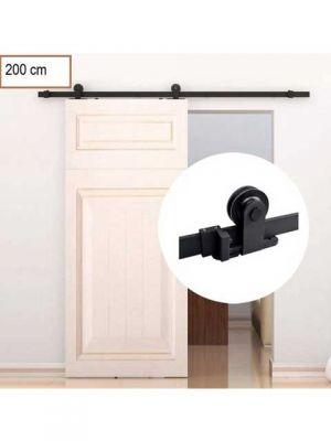 Schuifdeursysteem- Schuifdeurbeslag - Topmontage -Mat zwart poedercoat met hangrollen