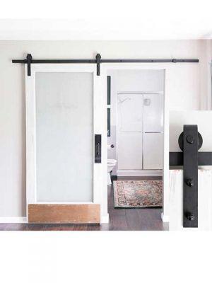 Schuifdeursysteem Mat zwart Smeedijzereffect met hangrollen - 152 cm