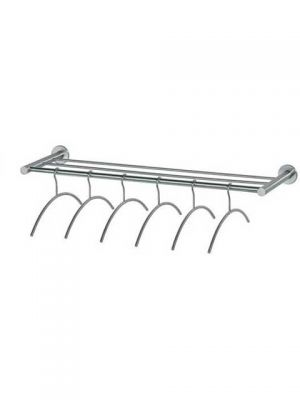 XXL Wandkapstok RVS 1000mm inclusief 6 RVS hangers