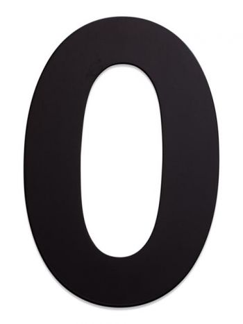 RVS Huisnummer 15cm Zwart  Nummer 0
