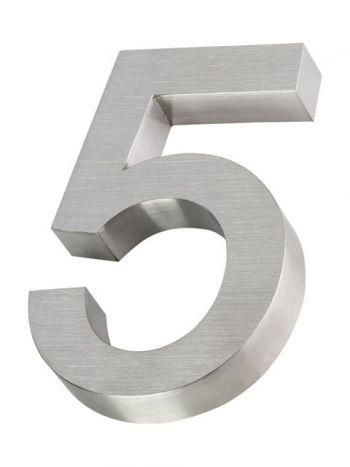 RVS 3D huisnummer 20cm Nummer 5