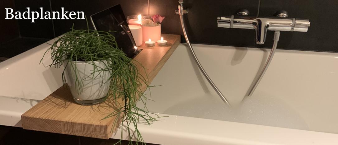 afbeelding van een luxe eikenhouten badplank