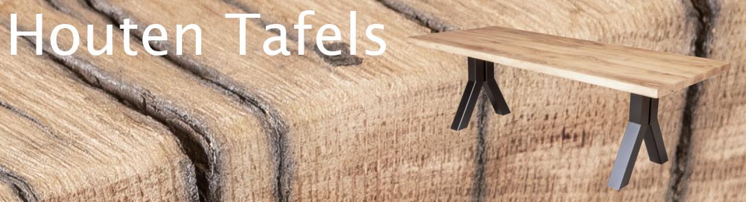 afbeelding van een houten eettafel met stalen poot die linkt naar de bestelpagina van houten tafels
